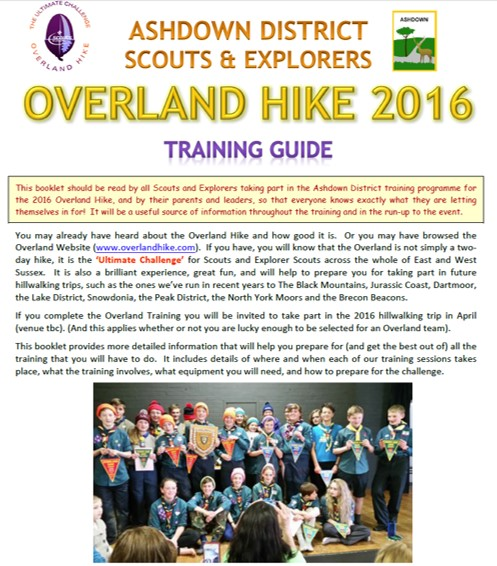 Ashdown Overland Training Booklet 2016